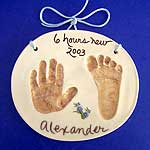 Clay handprint of a newborn baby