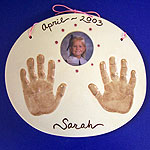 Double with Frame - ceramic kid's handprints and photo frame